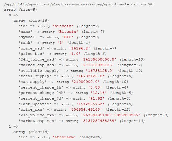 Resultado de la petición a una API REST