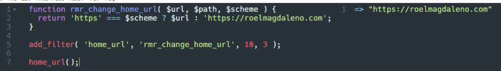Resultado de la función home_url() en Tinkerwell después de usar filtros.