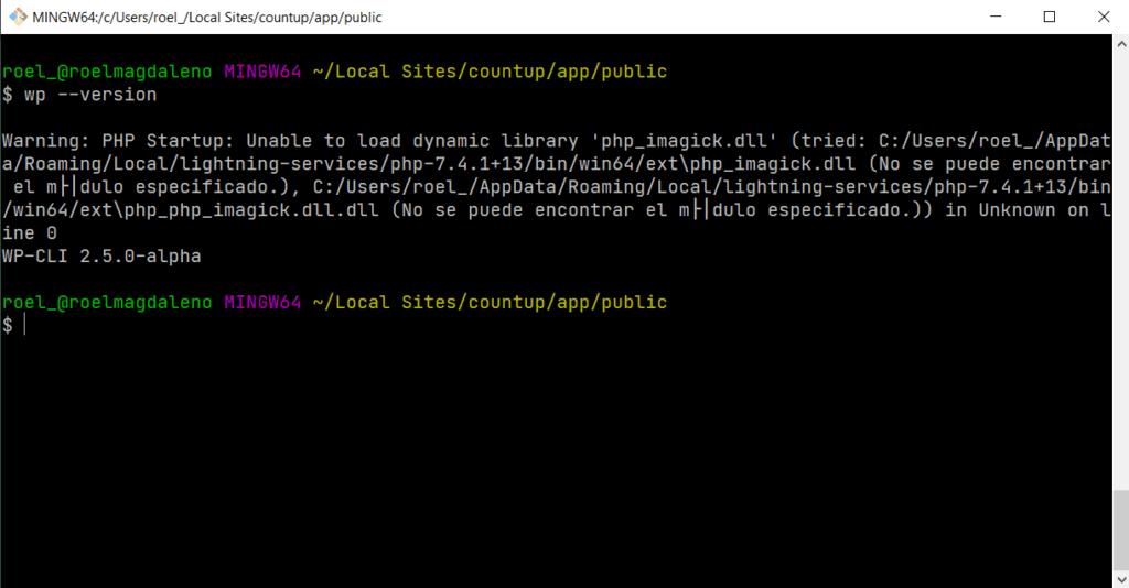 Terminal del sitio en Local By Flywheel con WP-CLI cargado donde se usará PHPUnit.