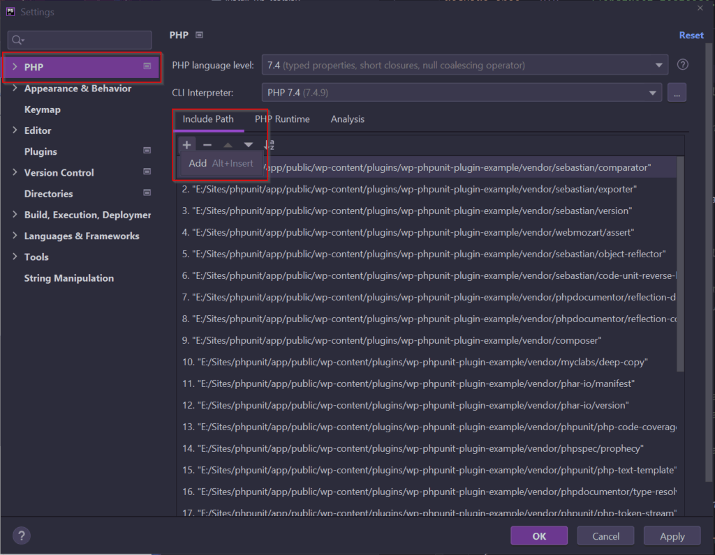 Settings de PHPStorm para agregar PHPUnit.