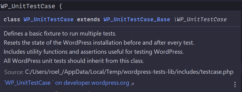 Descripción de la clase WP_UnitTestCase.